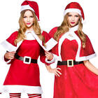 Lady Santa Claus Ladies Christmas Fancy Dress X-Mas Festive Adults Costumes New