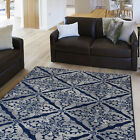 Contemporary Blue-Gray Carpet Petals Lines Flowers Leaves Geometric Area Rug