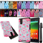 For ZTE ZMAX Z970 Shockproof HYBRID Rugged HARD SOFT Silicone Case Cover + Pen