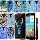 For LG G Vista VS880 G Pro 2 Lite PATTERN HARD Protector Case Phone Cover + Pen