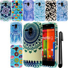 For Motorola Moto G Falcon XT1032 PATTERN HARD Protector Case Phone Cover + Pen