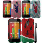 For Motorola Moto G 2014 XT1068 2nd Gen DIAMOND BLING HARD Case Cover + Pen
