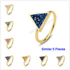 Size 5.5~7 Wholesale 5Pcs Titanium Natural Agate Druzy Ring Gold Plated BZG060