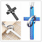 Unisex Punk Unisex Men's Charm Stainless Steel Bible Cross Ring Pendant Necklace