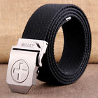 Men Fashion Steel CROSS Buckle Sports Casual Canvas Belt Military Waistband C37