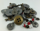 25G Metal Look Buttons Sparkly Gold Grey Silver Various Shapes & Sizes Steampunk
