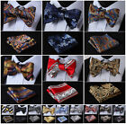 Check Striped Floral Men Woven Silk Wedding Self Bow Tie handkerchief Set #G6