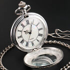 2 Colours Flower Leaf Carved Mens Women Roman Dial Pocket Chain Quartz Watch