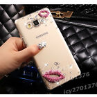 Bling transparent Clear crystal Diamonds pink lips hard back Case skin cover #8