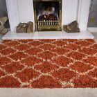 SMALL LARGE RUGS THICK TERRACOTTA SOFT SHAGGY RUG NON SHED 5cm PILE TRELLIS RUGS