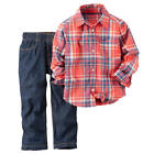 Carter's Boys 2 Piece Red/Blue Plaid Long Sleeve Woven Button Down Poplin Shirt