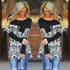 Womens Shirt Casual Printed Loose Top Long Sleeve T-shirt Pocket Blouse Summer