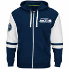 NEW Mens MAJESTIC Seattle Seahawks NFL 1976 Navy Free Pace Full Zip Up Hoodie