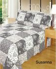 Quilted Patchwork Bedspreads 100% Cotton Single Double King Susanna