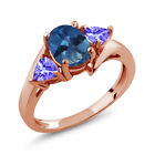 1.72 Ct Oval Royal Blue Mystic Topaz Blue Tanzanite 18K Rose Gold Ring