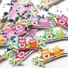 New 10/50/100/500pcs Owls On Branch Wood Buttons 2 Holes Sewing Craft 40mmT0841