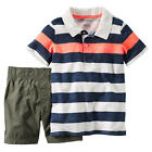 Carter's Boys 2 Piece Navy Striped Short Sleeve Polo Top & Olive C - Toddler