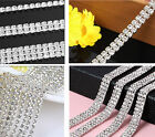 1Row/2Row/3Row Silver Crystal Rhinestone Cup Close Chain Necklace Craft 1yd Trim