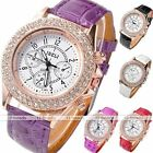 Fashion Women Crystal Decorated Racing Style Analog Quartz PU Leather Wristwatch