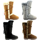 WOMENS SNOW BOOTS TALL FULLY FUR LINED WATEPROOF MUCK SKI SOLES LADIES NEW 3-8