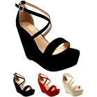 Womens Open Toe Wedge Heel Platform Party Ankle Cross Strap High Heels UK 3-9