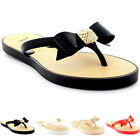 Womens Sandals Summer Holiday Festival Bow Diamante Slip On Flip Flops UK 3-9