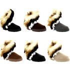 Womens Short Tassel Rabbit Fur Lined Winter Cold Weather Snow Rain Boots UK 3-10