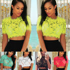 Women Sexy See Through Lace Crop Top Floral Crochet Blouse Hollow Midriff Tops