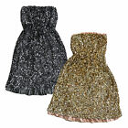 Tommy Hilfiger Womens Strapless Dress Party Dress Gold Silver Sequin Fancy