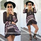 New Women Summer-Casual Loose Long Sleeve Party Cocktail Short Mini Dress