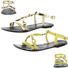 Chelsea Crew Fabulous Women's Gladiator Buckle Sandals Wood Faux Leather