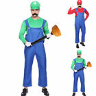 Men's Super Mario Luigi Bros Fancy Dress Carnival Costume Outfit or Fake Belly
