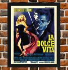 Framed La Dolce Vita Movie Poster A4 / A3 Size In Black / White Frame -