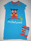 Womens Funny Silly Owl Nightshirt Sleepshirt Lazy One Sleepwear Slipper Socks