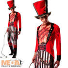 Lion Tamer Mens Fancy Dress Halloween Circus Horror Spooky Adults Costume + Hat