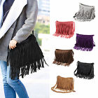 Faux Suede Layered Fringed Trim Duffle Slouch Shoulder Bag Messenger Cross Body
