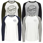 Jack & Jones Closed Raglan T_Shirt L/S in NAvy Blue, Grey, White & Black R*BNWT*