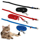 CAT ADJUSTABLE LEAD COLLAR ELASTICATED BELL KITTEN WALKING LEASH TRAINING SAFE