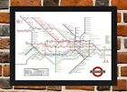 Framed London Underground Vintage Tube Map A4 / A3 Size In Black / White Frame