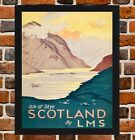 Framed Isle Of Skye Railway Travel Poster A4 / A3 Size In Black / White Frame