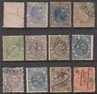 Spain Timbre Movil Revenues 12 diff used stamps 1882//1904 Edifil cv $38