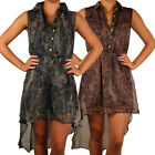 Ladies Snake Print Collared Dipped Back Hem Dress Sleeveless Top Womens Size