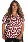 DEALZONE Alluring Printed Short Sleeve Top 3X Women Plus Size Burgundy Casual