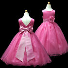 1USD59A Hot Pink Floor-Length Pageant Wedding Flower Girls Dress 1 to 13 Y