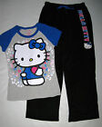 New Hello Kitty Pajamas Plush Pants Top Sleepwear Set Junior Girls Size S M L XL