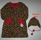 New Junior Girls Leopard Fleece Nightshirts Sleepshirts with Hat S M L  Pajamas