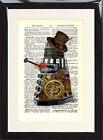 Steampunk Dalek Dictionary Page Art Print Dr Who Cyberman Vintage Hat Doctor Fan