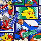 Pocket Monster Pokemon Comic / Japanese Anime Cartoon Fabric 110cm x 50cm