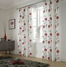 POPPIES FLORAL LINED VOILE CURTAINS READY MADE PENCIL PLEAT PAIRS WHITE RED