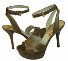 Michael Kors Womens Gideon Sandal Brown Dark Mushroom Ankle Strap Platform Heels